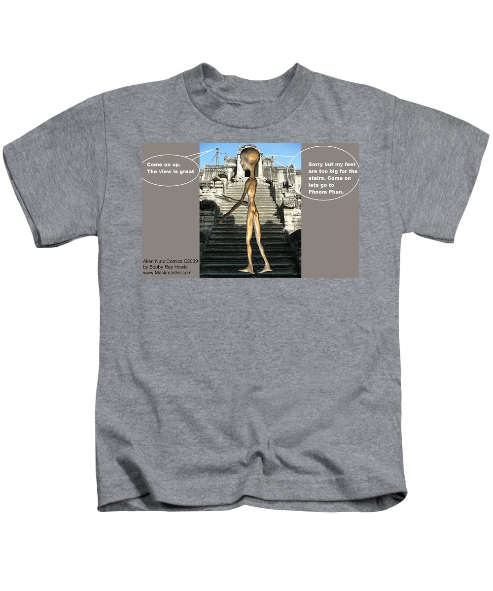 Space Art Alien Nutz Comics Kids T-Shirt featuring the mixed media Cambodia 3 by Robert aka Bobby Ray Howle
