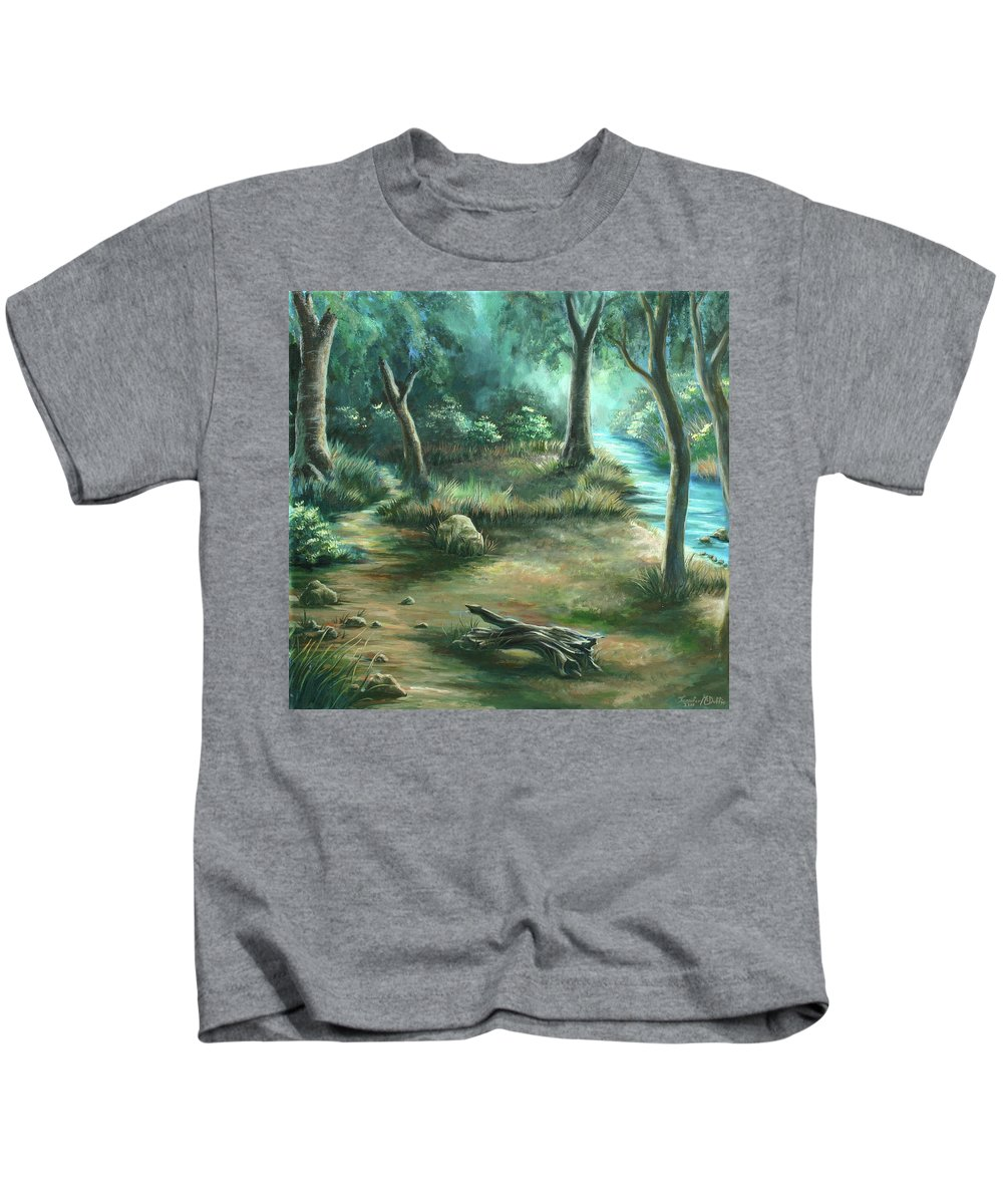 Landscape Kids T-Shirt featuring the painting Camping At Figueroa Mountains by Jennifer McDuffie