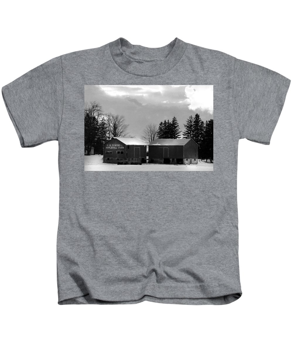 B&w Kids T-Shirt featuring the photograph Canadian Farm by Anthony Jones