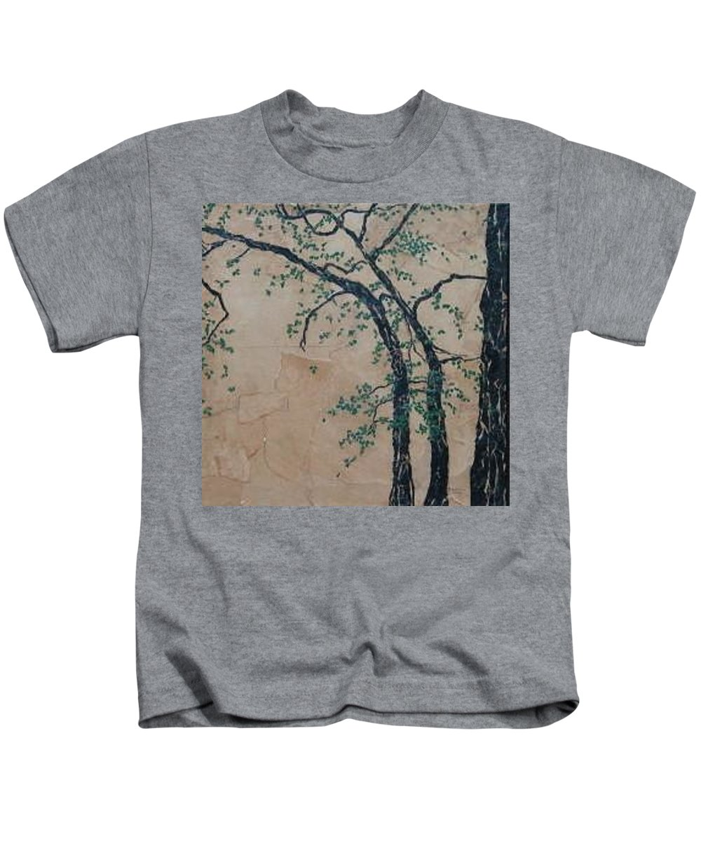 Leafy Tree Kids T-Shirt featuring the painting Canandaigua Lake by Leah Tomaino