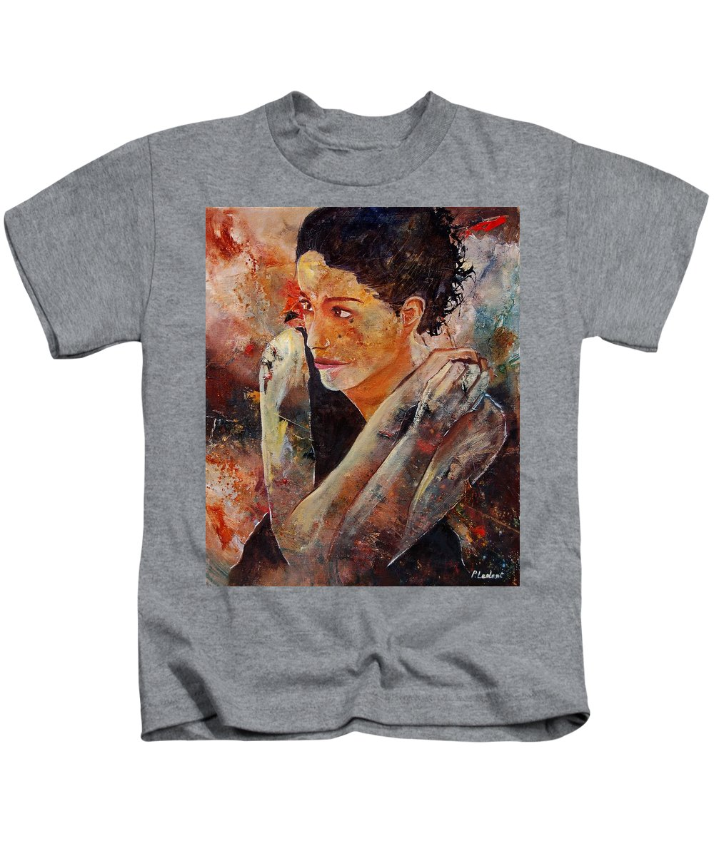 Figurative Kids T-Shirt featuring the painting Candid Eyes by Pol Ledent