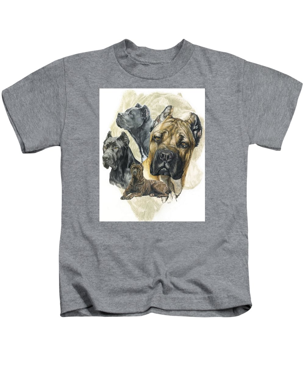 Working Kids T-Shirt featuring the mixed media Cane Corso W/ghost by Barbara Keith