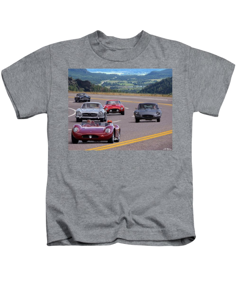 Cars Kids T-Shirt featuring the photograph Cannonball Rally by Bill Stephens