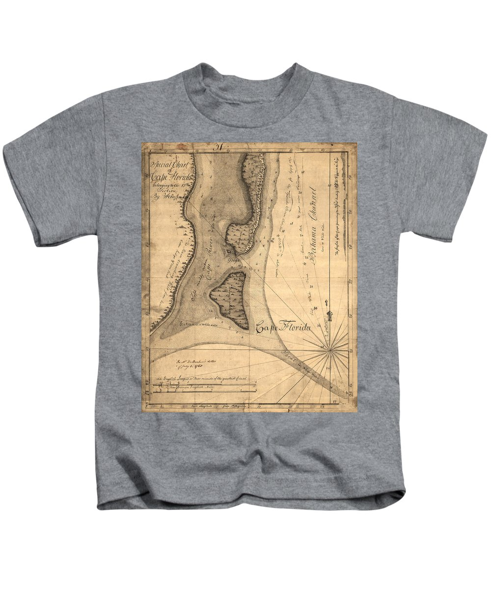 Map Of Cape Florida Kids T-Shirt featuring the photograph Cape Florida 1765 by Andrew Fare