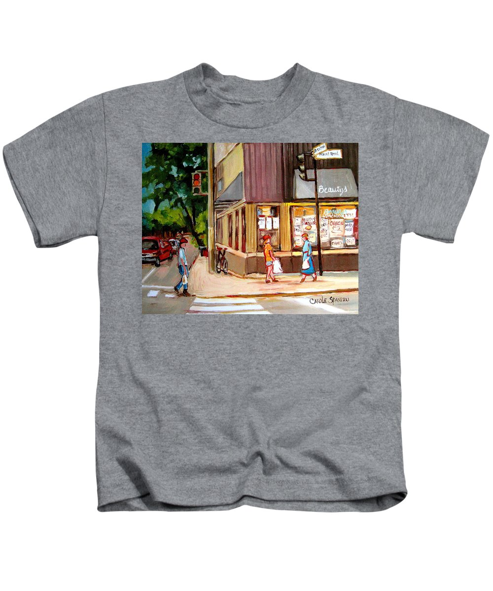 Cafes Kids T-Shirt featuring the painting Cappucino Cafe At Beauty's Restaurant by Carole Spandau