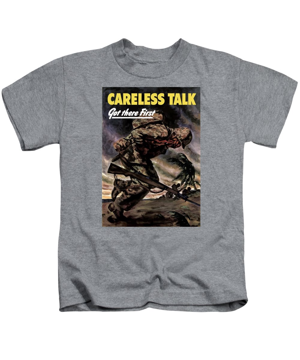 Careless Talk Kids T-Shirt featuring the painting Careless Talk Got There First by War Is Hell Store