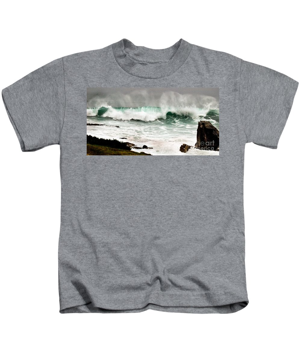 Seascapes Kids T-Shirt featuring the photograph Carmel Wave Rock by Norman Andrus