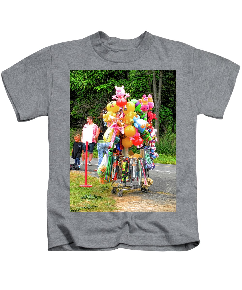 Carnival Vendor Kids T-Shirt featuring the painting Carnival Vendor 3 by Jeelan Clark