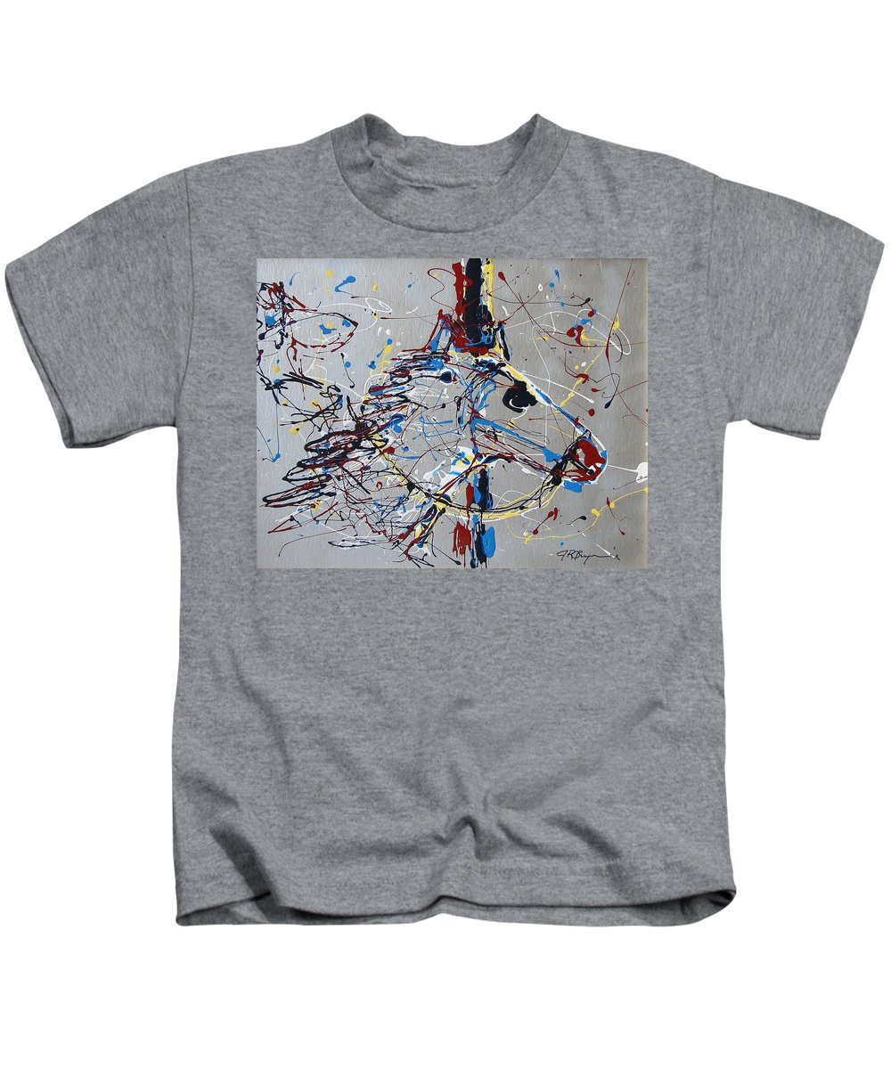 Carousel Horse Kids T-Shirt featuring the mixed media Carousel Horse by J R Seymour