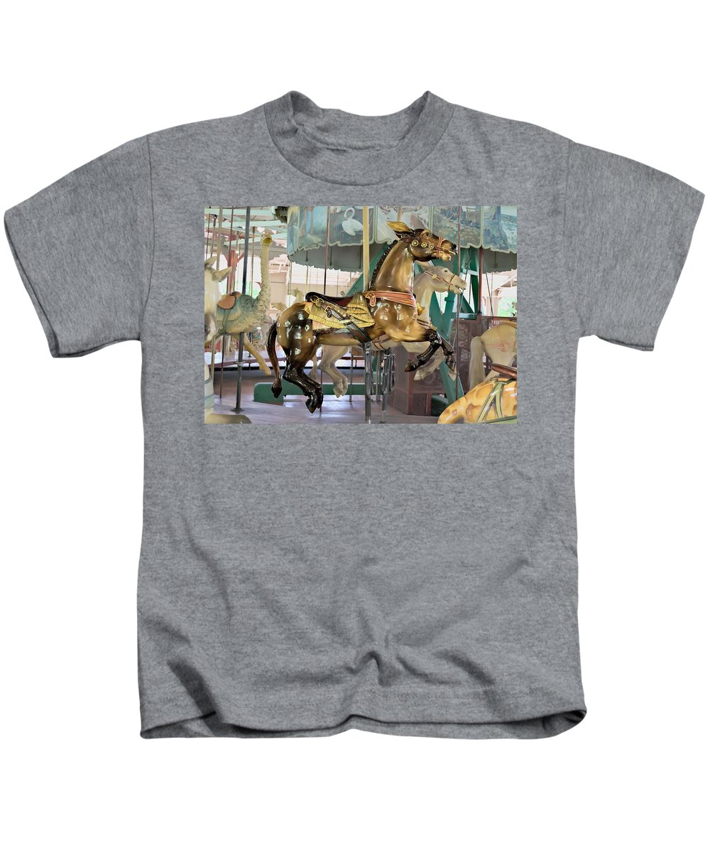 Carousel Kids T-Shirt featuring the photograph Carousel Mule by Carol Deltoro