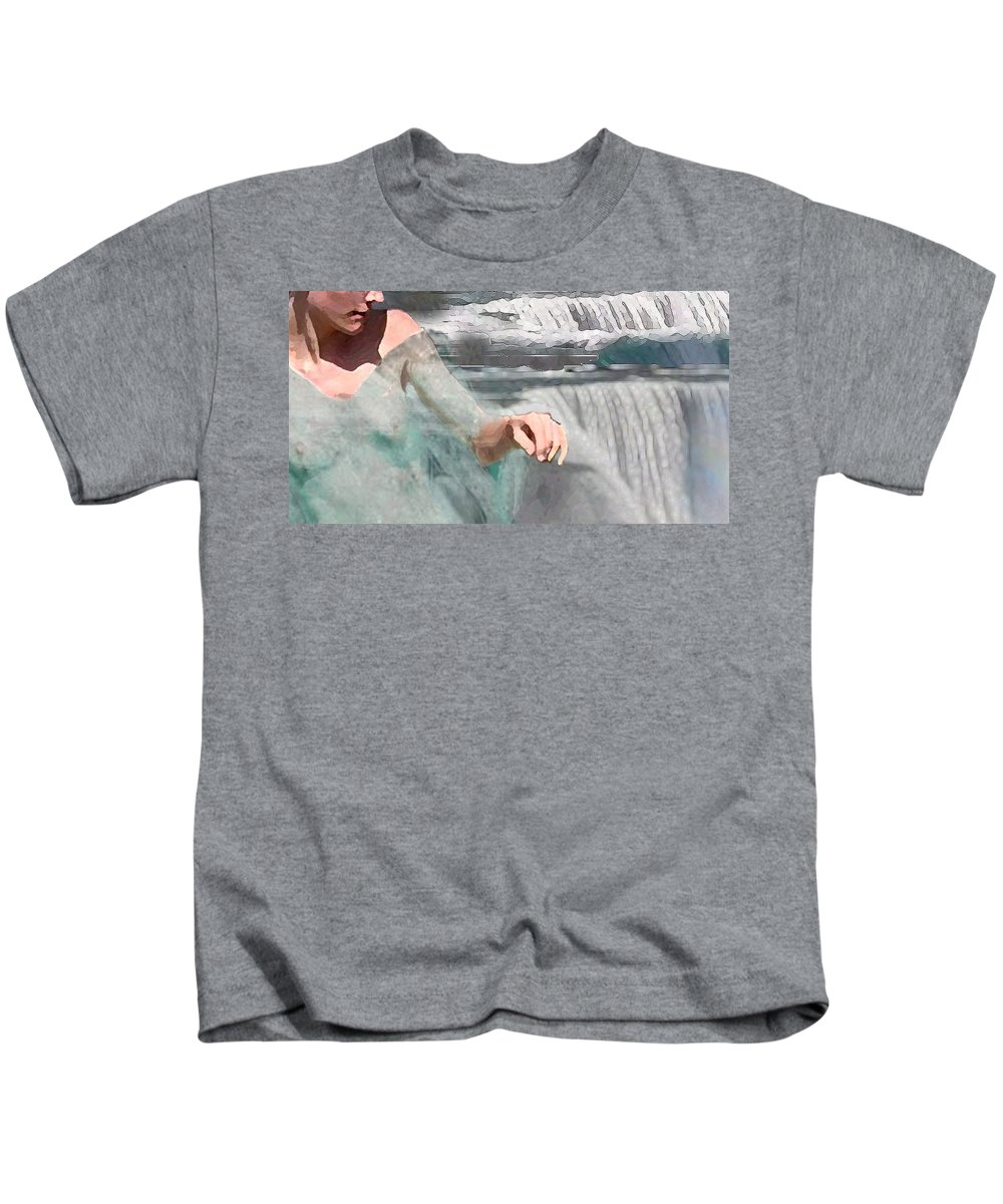 Waterscape Kids T-Shirt featuring the digital art Cascade by Steve Karol