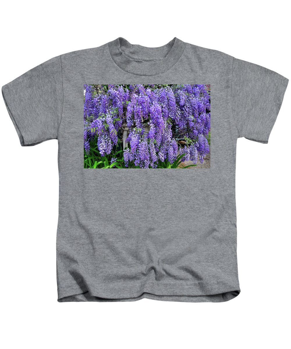 Photography Kids T-Shirt featuring the photograph Cascading Wisteria 2 by Kaye Menner