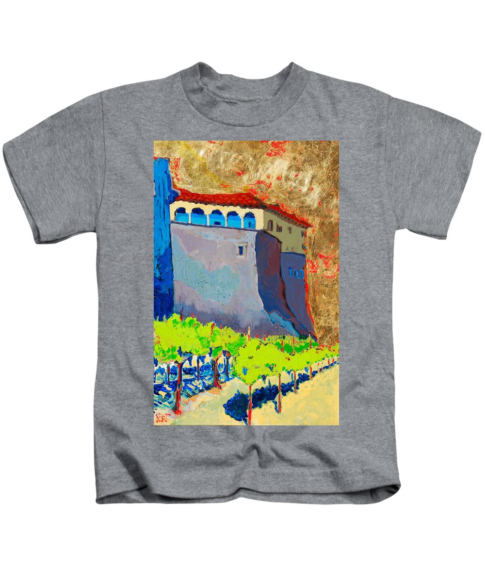 Castle Kids T-Shirt featuring the painting Castello Di Villafranca by Kurt Hausmann
