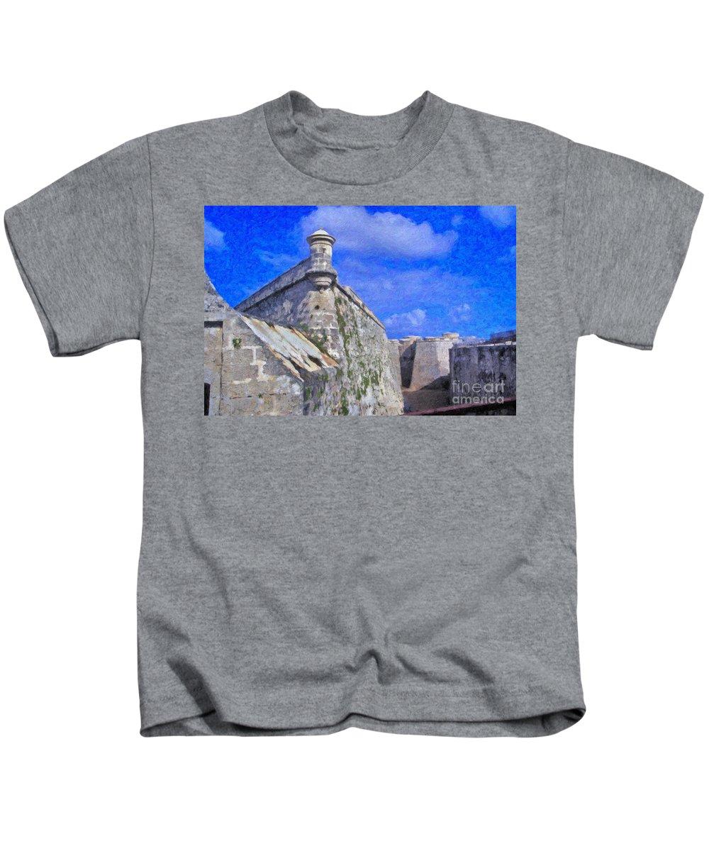 Castillo El Morro- Havana Kids T-Shirt featuring the photograph Castillo El Morro Havana Cuba by David Zanzinger