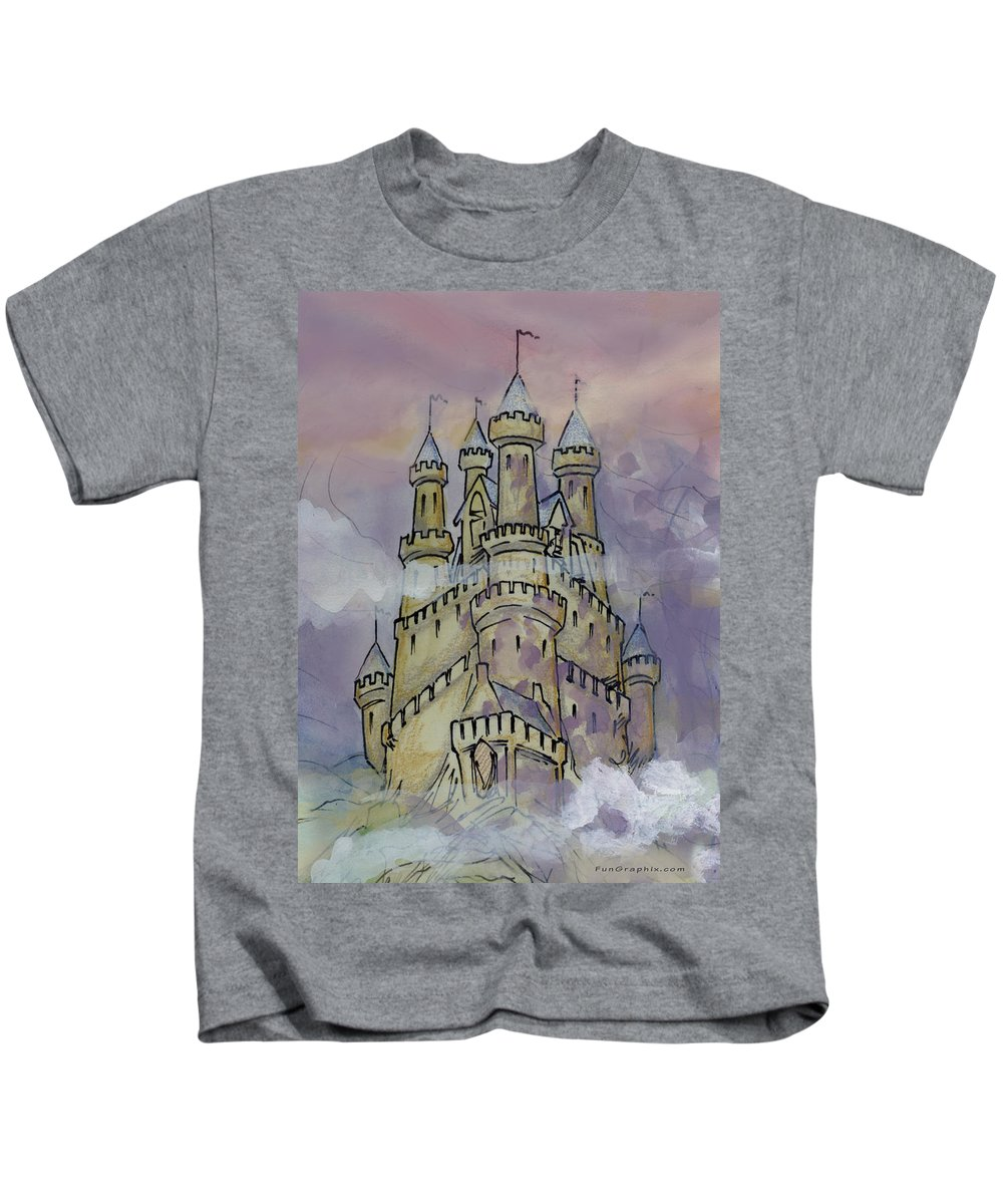 Castle Kids T-Shirt featuring the greeting card Castle by Kevin Middleton