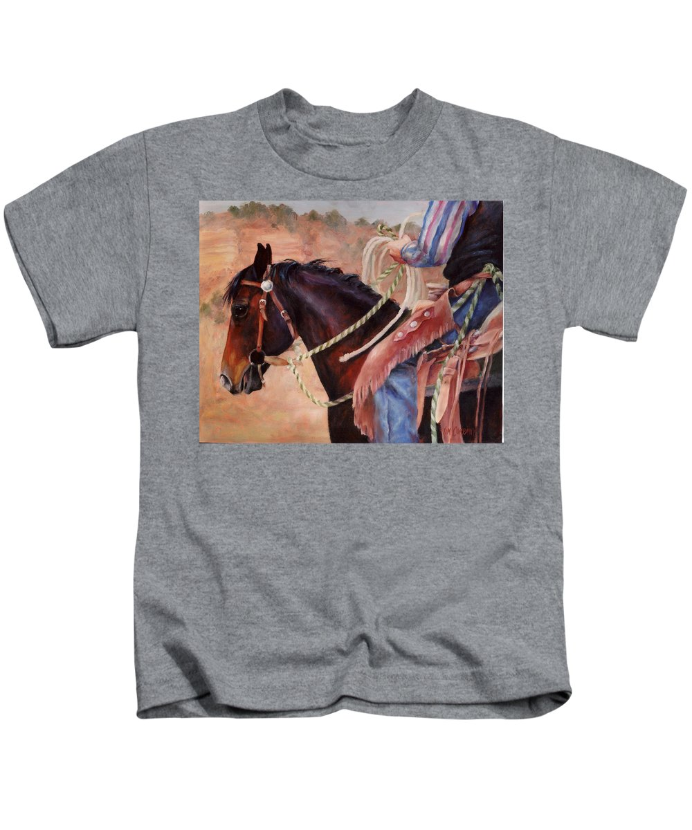 Horse Kids T-Shirt featuring the painting Castle Rock Buckaroo Western Cowboy Painting by Kim Corpany