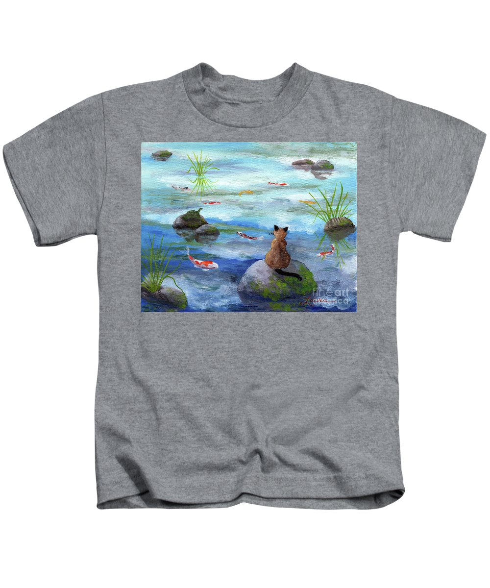 Zen Kids T-Shirt featuring the painting Cat Koi And Turtle Among The Cloud Reflections by Laura Iverson