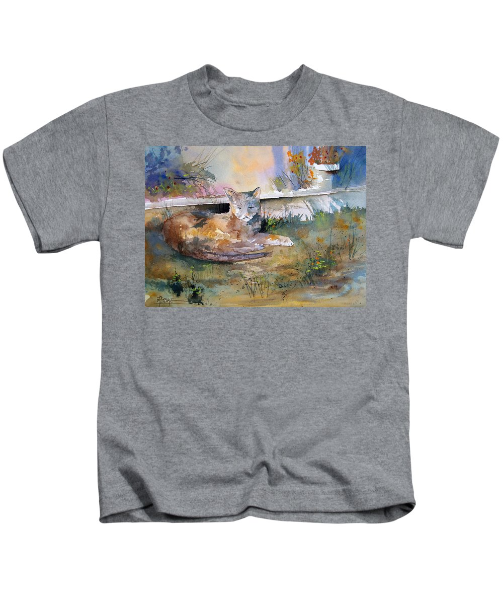 Landscape Kids T-Shirt featuring the painting Cat Nap by Ryan Radke