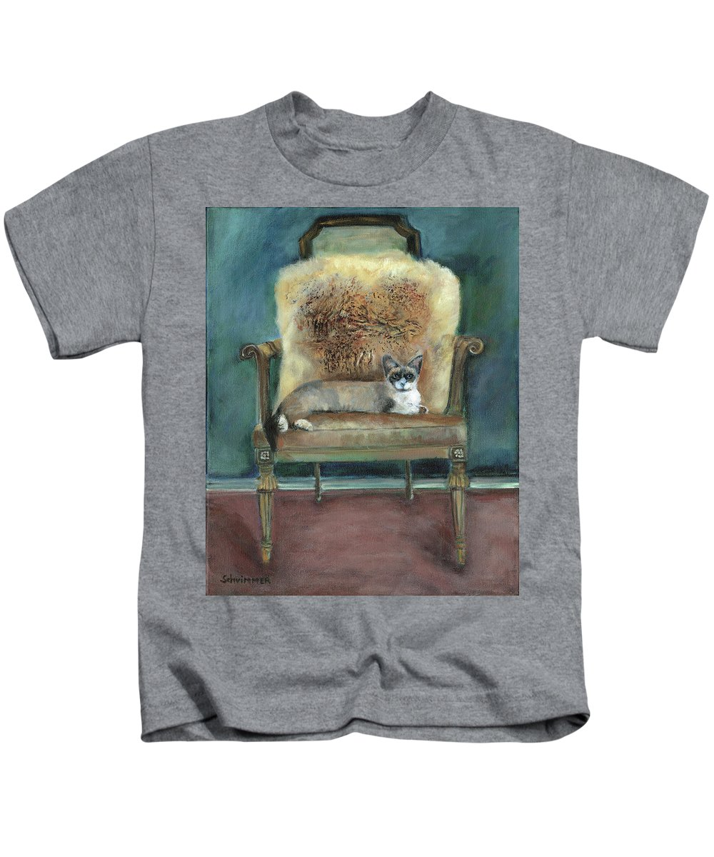 Cat On Chair Kids T-Shirt featuring the painting Cat On A Chair by Marcelle Schvimmer