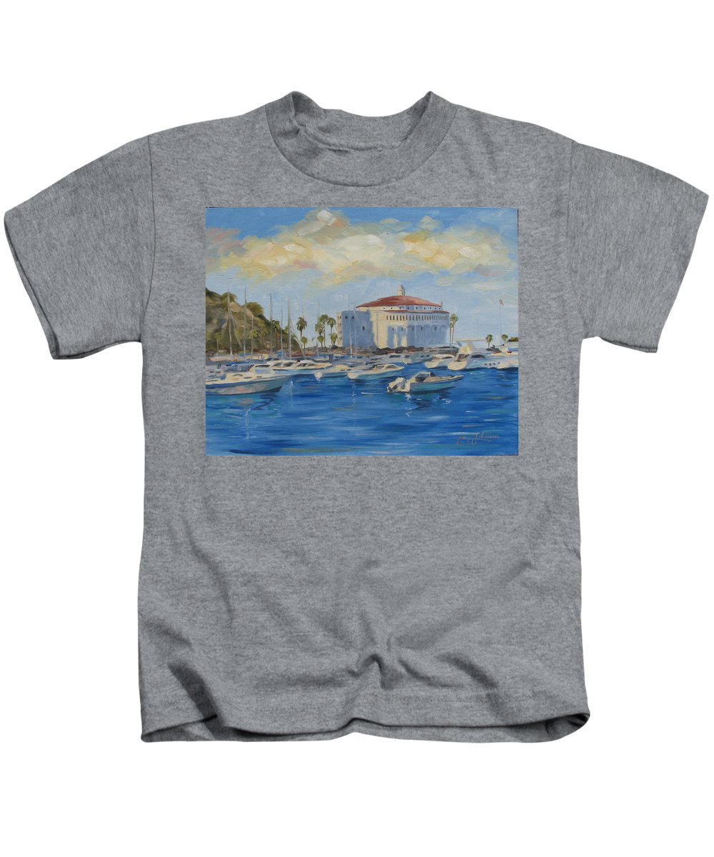 California Kids T-Shirt featuring the painting Catallina Casino by Jay Johnson