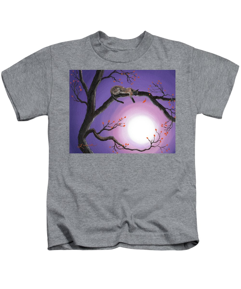 Siamese Cat Kids T-Shirt featuring the painting Catch A Falling Leaf by Laura Iverson