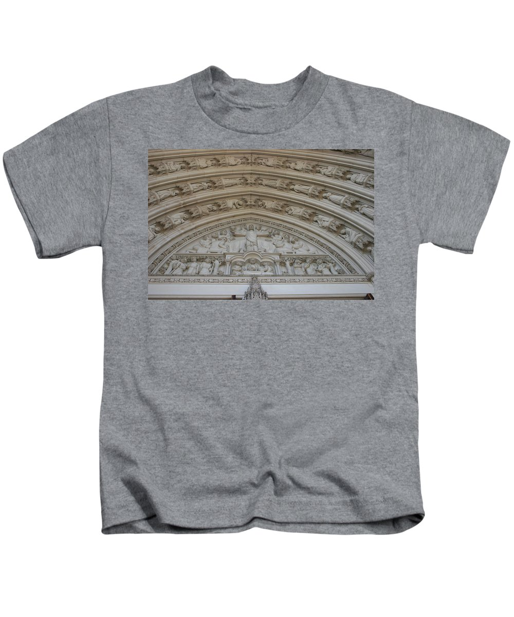 Architectural Details National Cathedral Washington Dc Church Photography Kids T-Shirt featuring the photograph Cathedral 3 by Norah Holsten