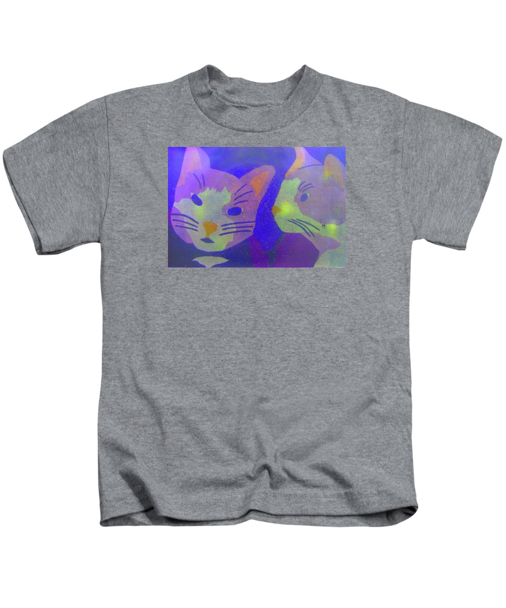Cats Kids T-Shirt featuring the photograph Cats On A Wall by John King
