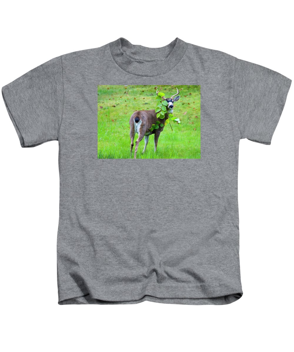 Buck Kids T-Shirt featuring the photograph Caught In The Act by Mike Dawson