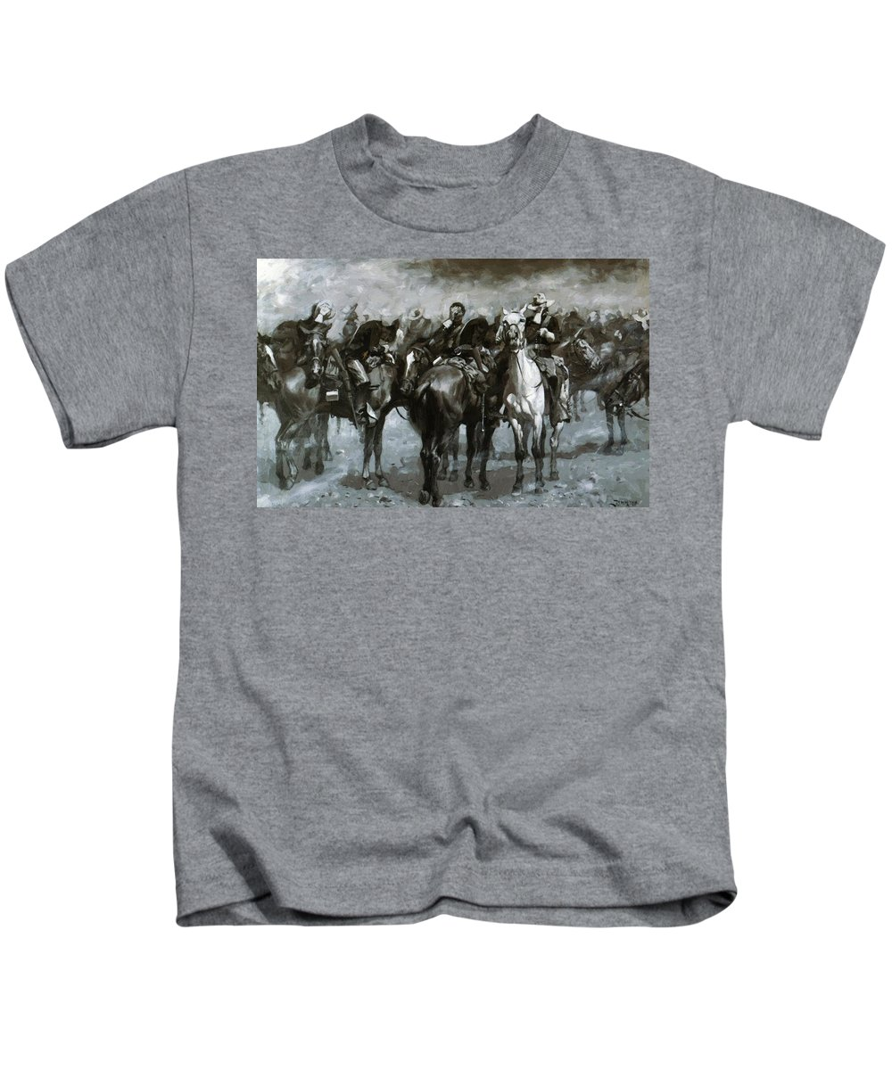 Cavalry Kids T-Shirt featuring the painting Cavalry In An Arizona Sandstorm 1889 by Remington Frederic