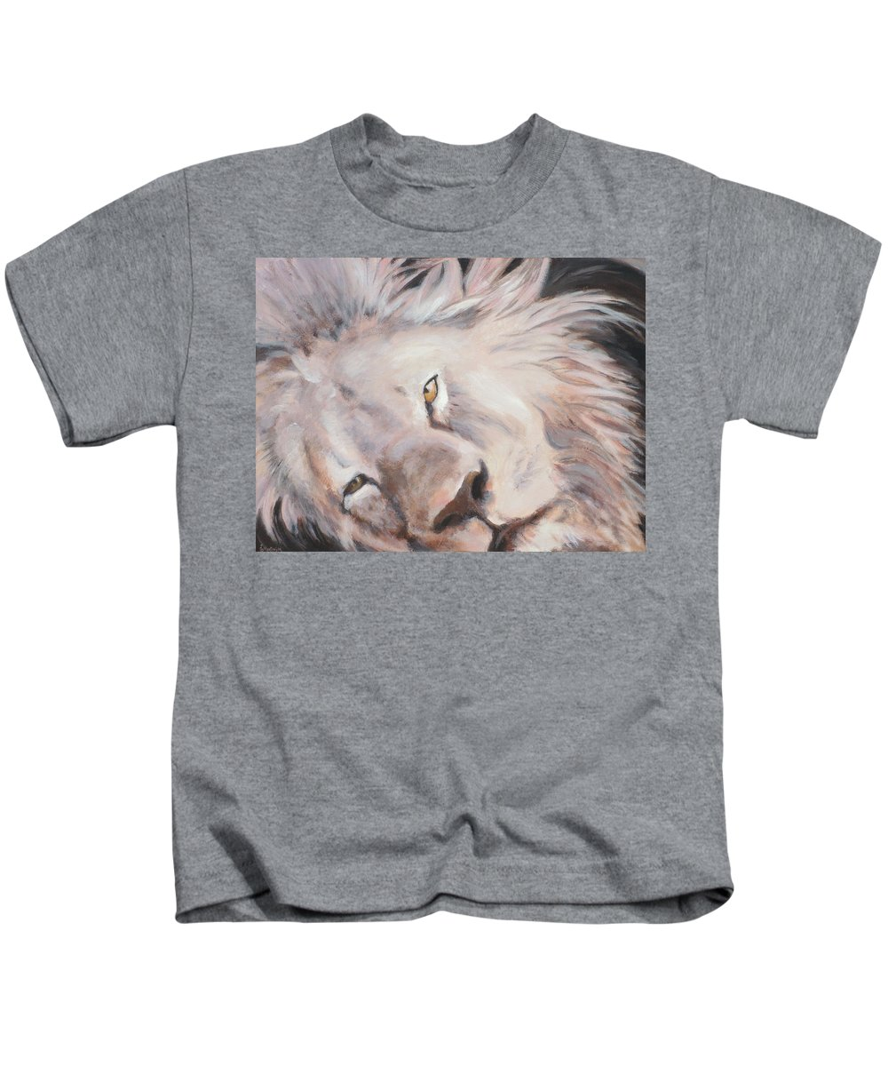 Lion Kids T-Shirt featuring the painting Cecil by Ekaterina Mortensen