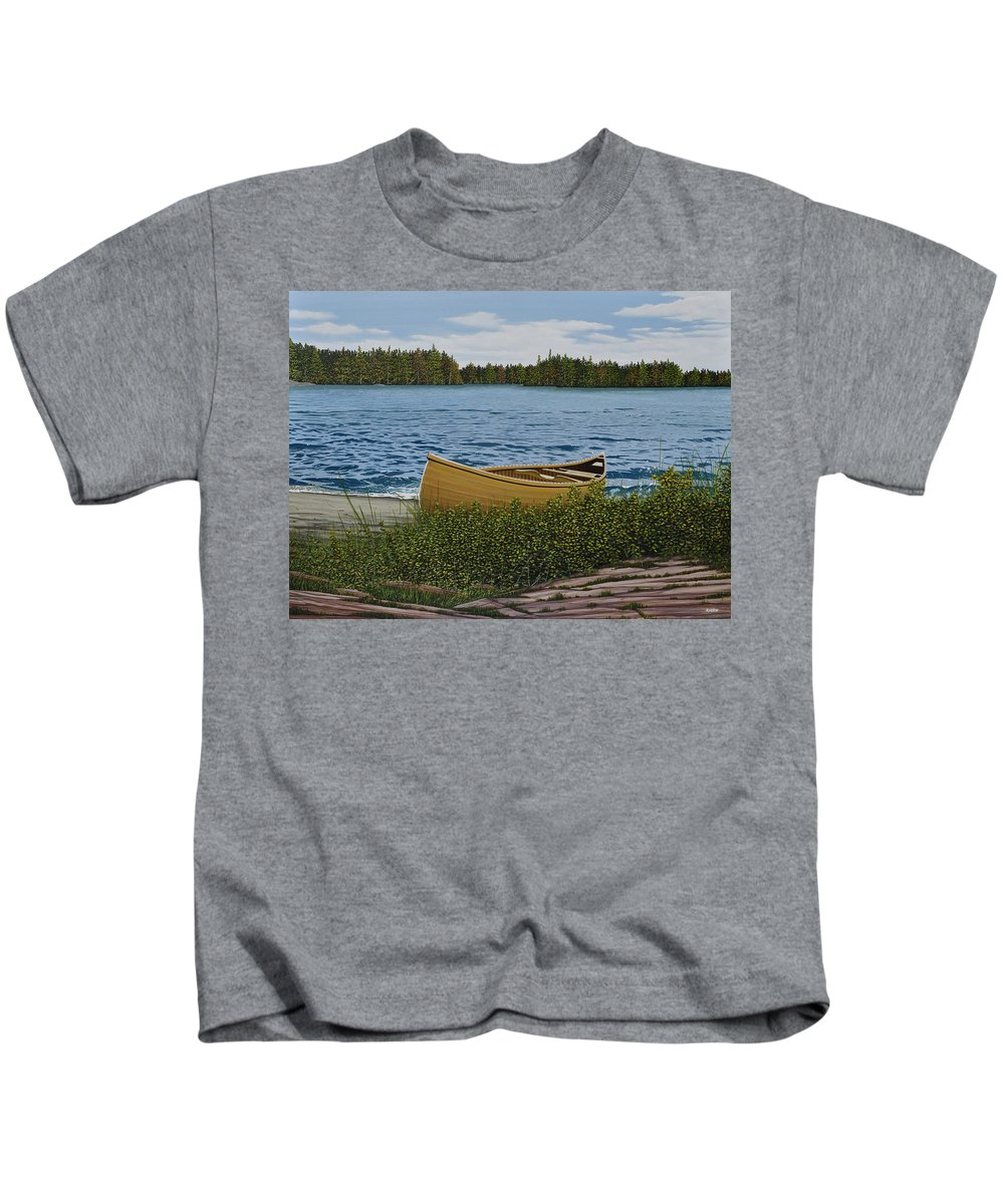 Landscapes Kids T-Shirt featuring the painting Cedar Canoe by Kenneth M Kirsch