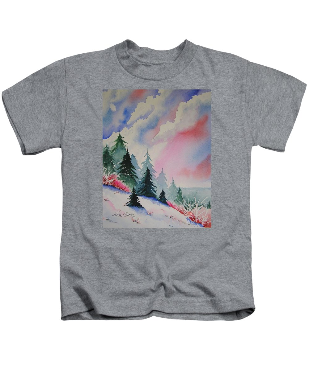 Snow Kids T-Shirt featuring the painting Cedar Fork Snow by Karen Stark