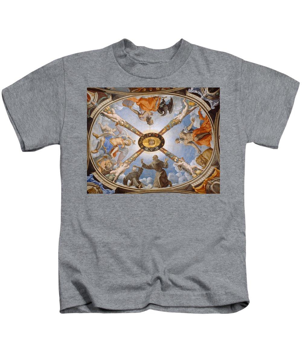 Bronzino Kids T-Shirt featuring the painting Ceiling Of The Chapel Of Eleonora Of Toledo by Bronzino
