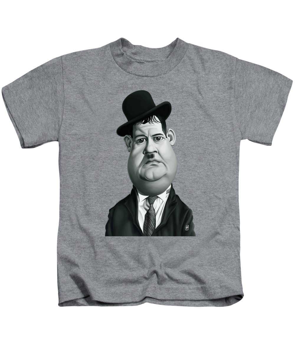 Illustration Kids T-Shirt featuring the digital art Celebrity Sunday - Oliver Hardy by Rob Snow