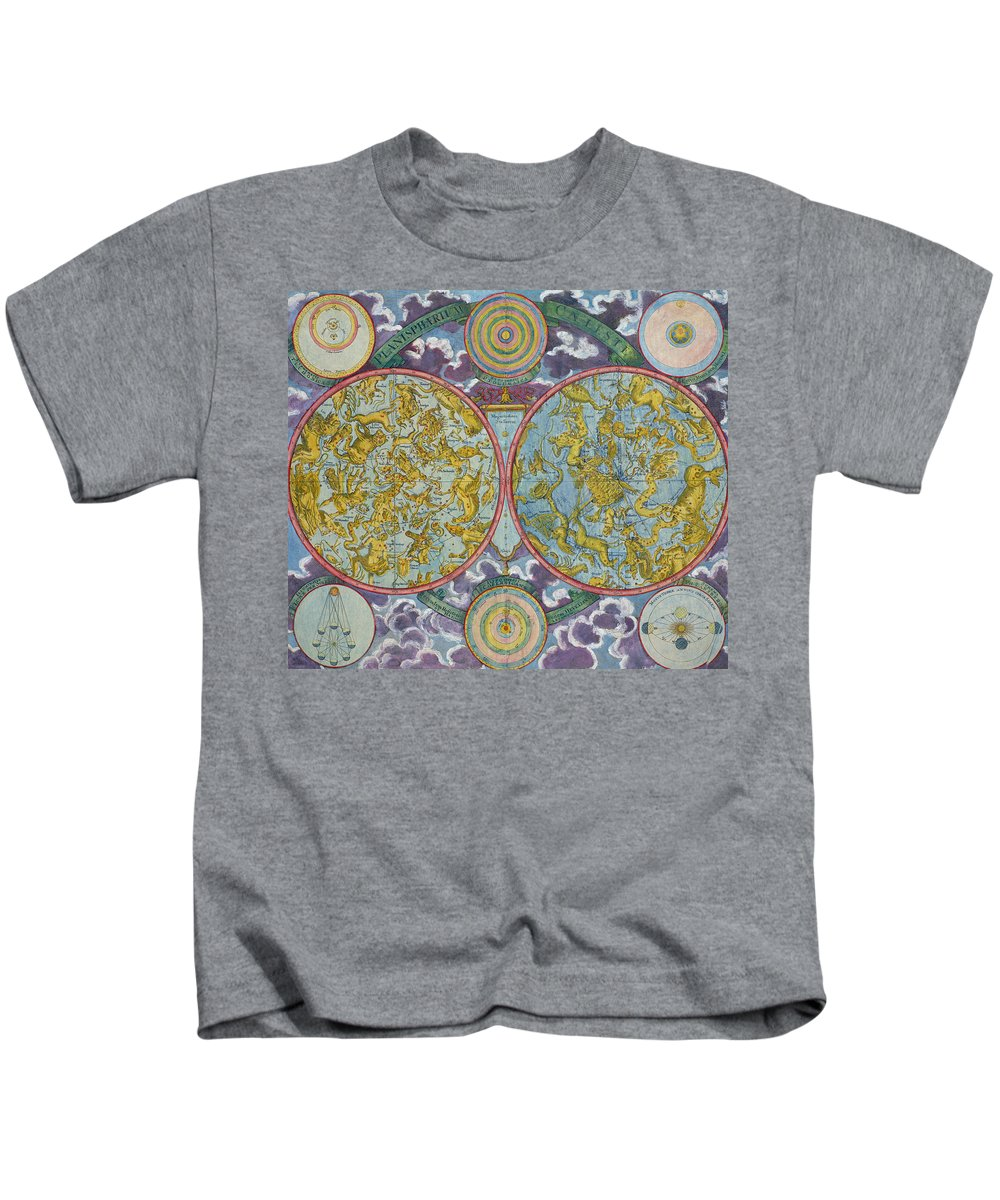 Kids T-Shirt featuring the drawing Celestial Map Of The Planets by Georg Christoph Eimmart