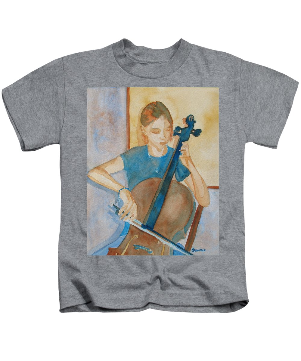 Girl Kids T-Shirt featuring the painting Cello Practice Iv by Jenny Armitage