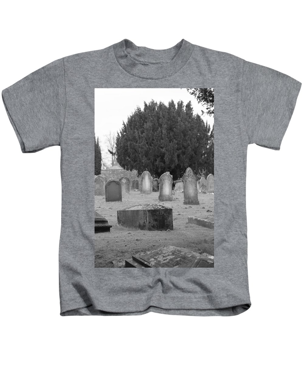 Cemetery Kids T-Shirt featuring the photograph Cemetery Church Of St. Mary Wedmore by Lauri Novak