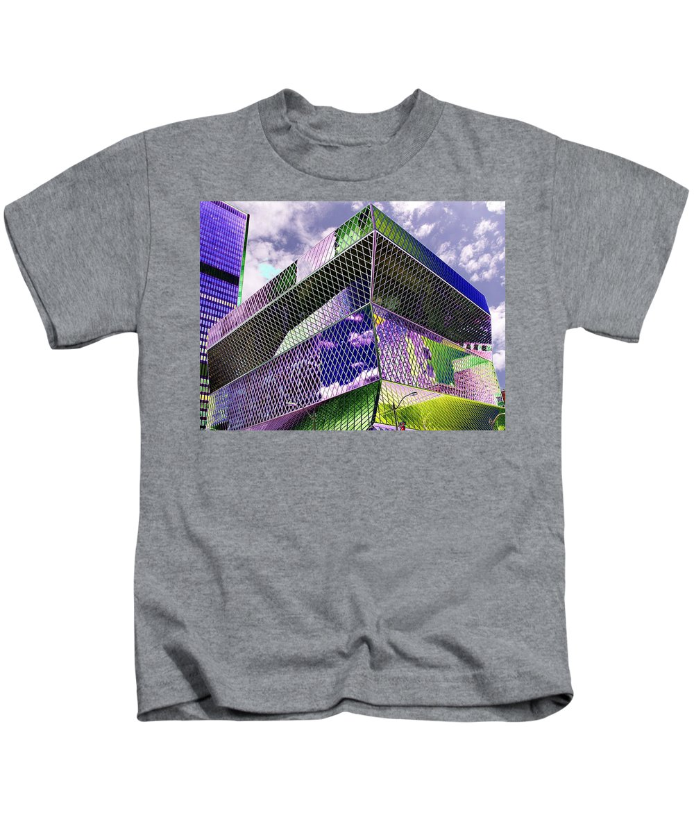 Seattle Kids T-Shirt featuring the digital art Central Library Seattle by Tim Allen
