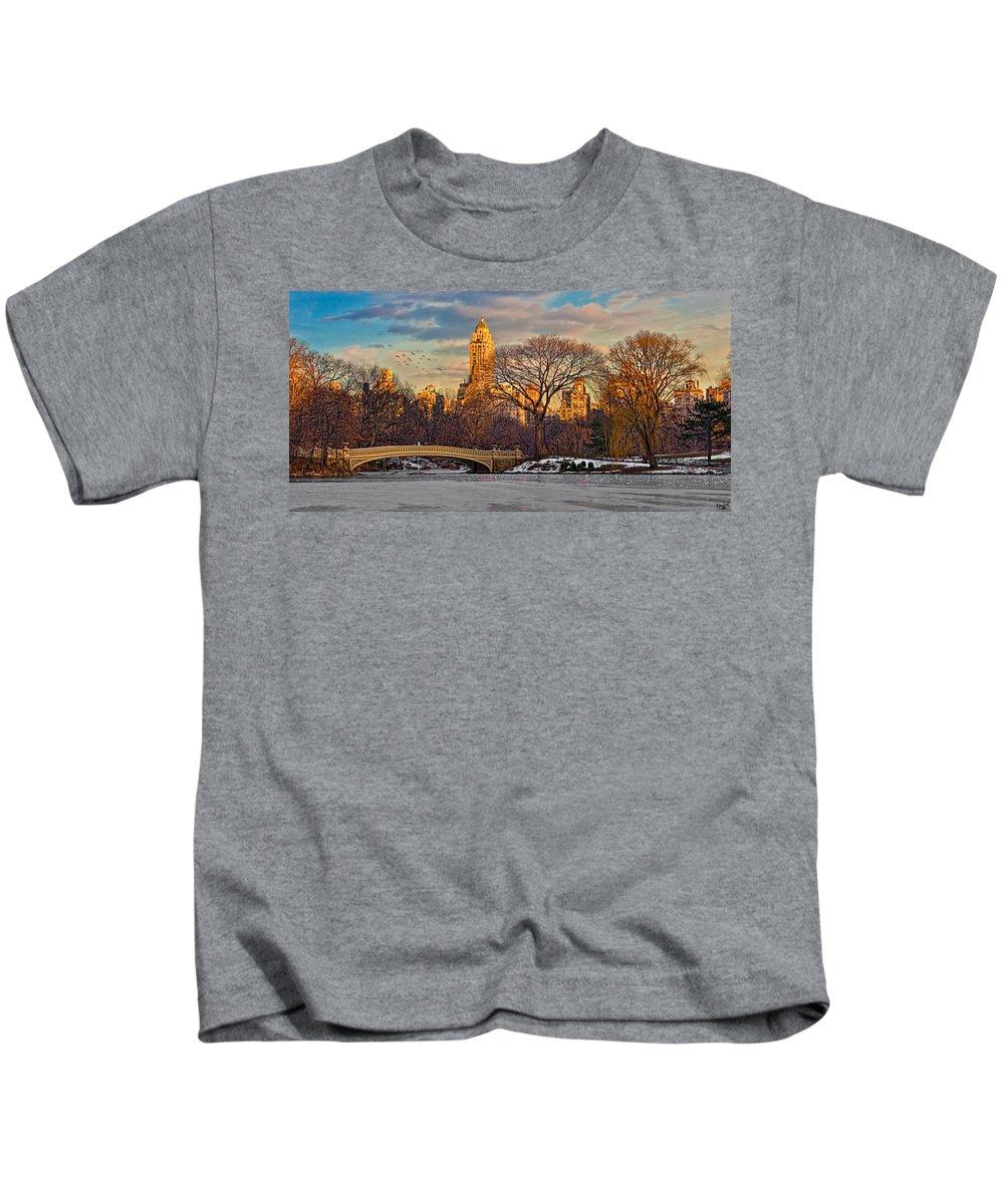 Landscape Kids T-Shirt featuring the photograph Central Parks Famous Bow Bridge by Chris Lord