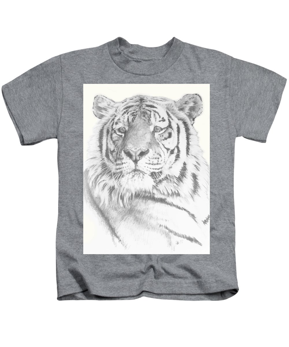 Tiger Kids T-Shirt featuring the mixed media Charisma by Barbara Keith