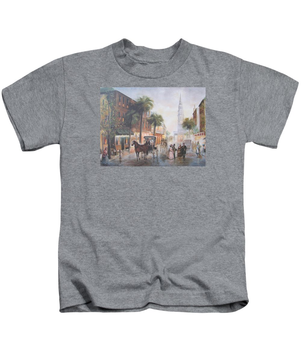 Charleston Kids T-Shirt featuring the painting Charleston Somewhere In Time by Charles Roy Smith