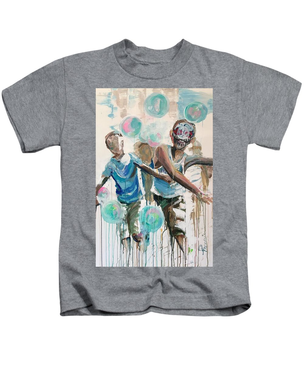 Kids Kids T-Shirt featuring the painting Chasing Bubbles by Denise Morencie
