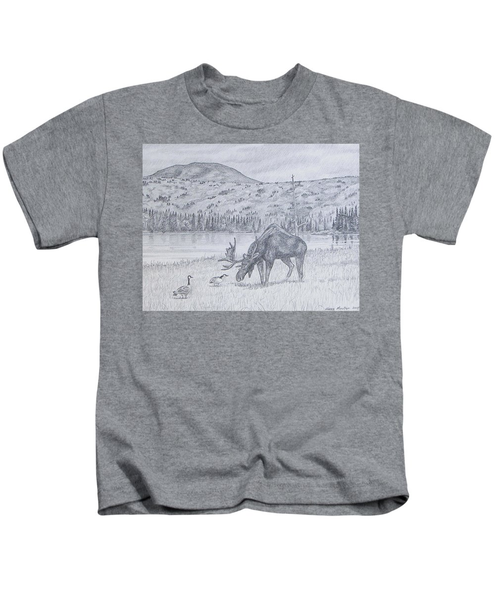 Moose Kids T-Shirt featuring the drawing Check This Out by Harry Moulton