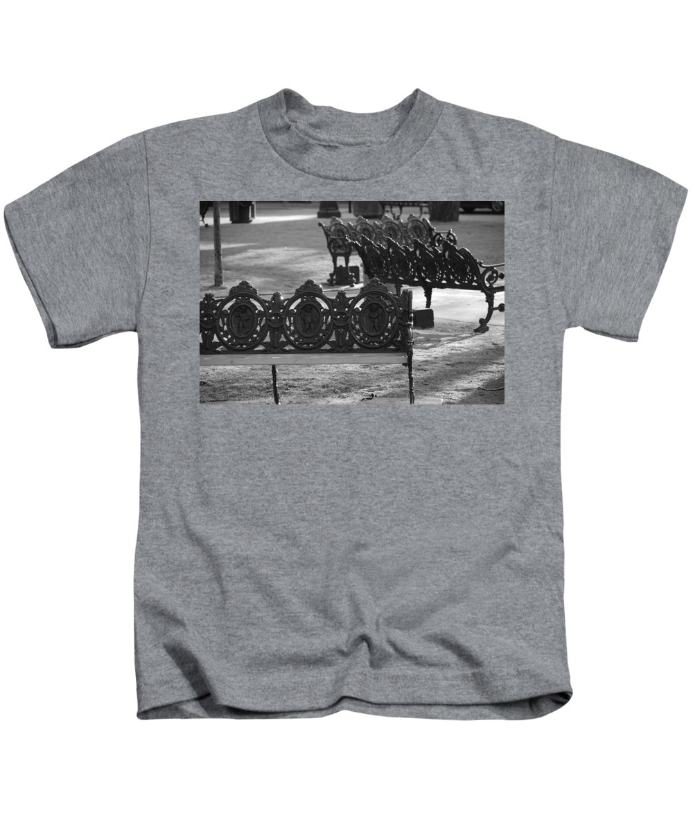 Black And White Kids T-Shirt featuring the photograph Cherb Benches by Rob Hans