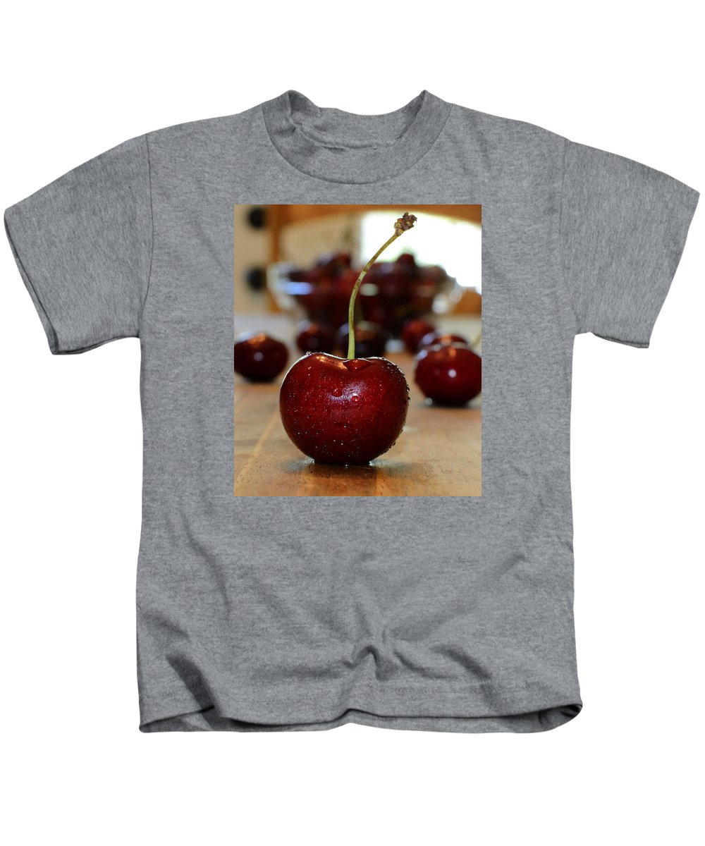 Fruit Kids T-Shirt featuring the photograph Cherry 2 by Pam Romjue