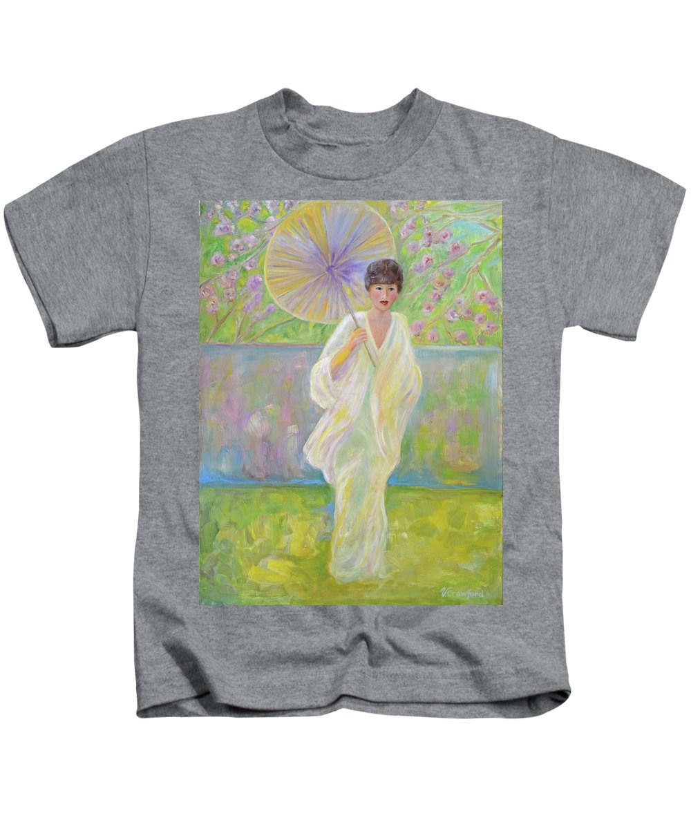 Japanese Kids T-Shirt featuring the painting Cherry Blossom Time by Verlaine Crawford