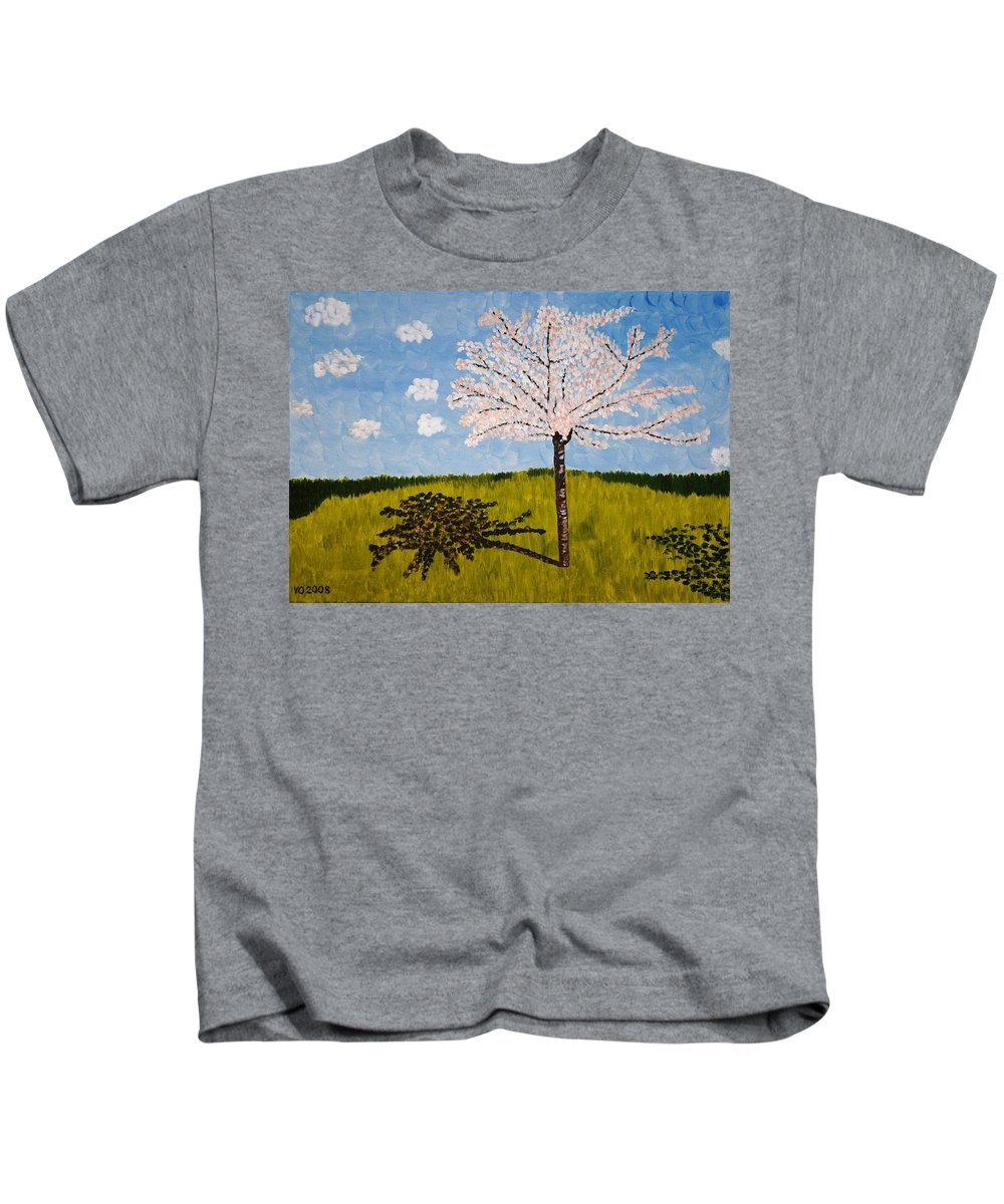 Cherry Kids T-Shirt featuring the painting Cherry Blossom Tree by Valerie Ornstein