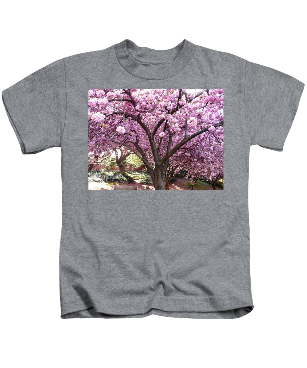 Cherry Blossom Kids T-Shirt featuring the photograph Cherry Blossom Wonder by Kendall Eutemey