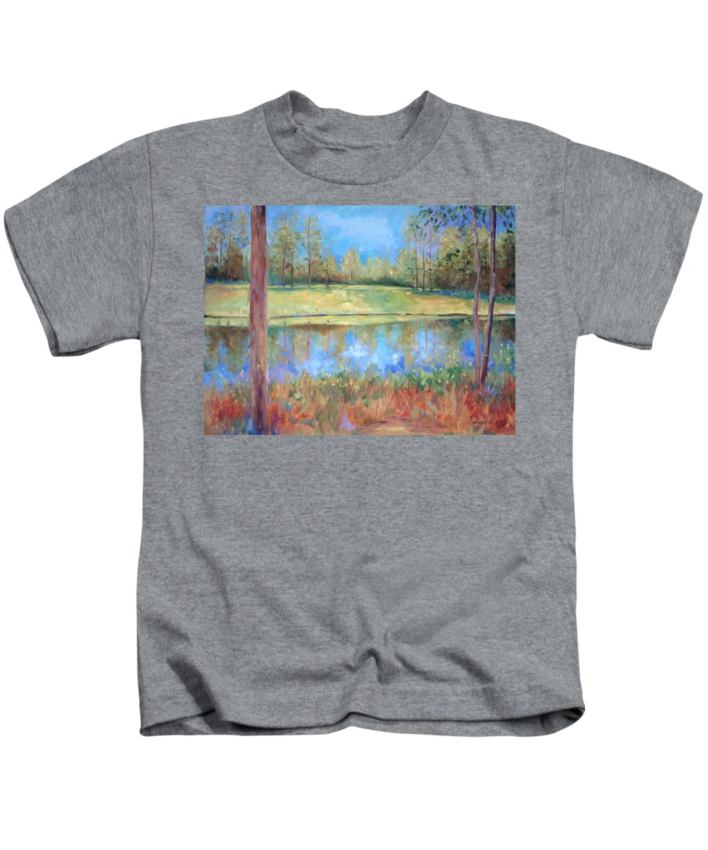 Ponds Kids T-Shirt featuring the painting Cherry Moon Pond by Ginger Concepcion