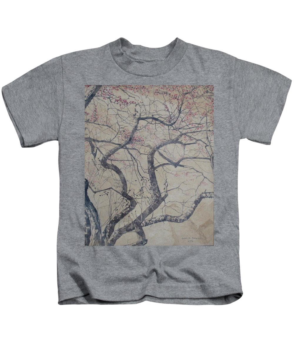 Crab Apple Kids T-Shirt featuring the painting Prairie Fire by Leah Tomaino